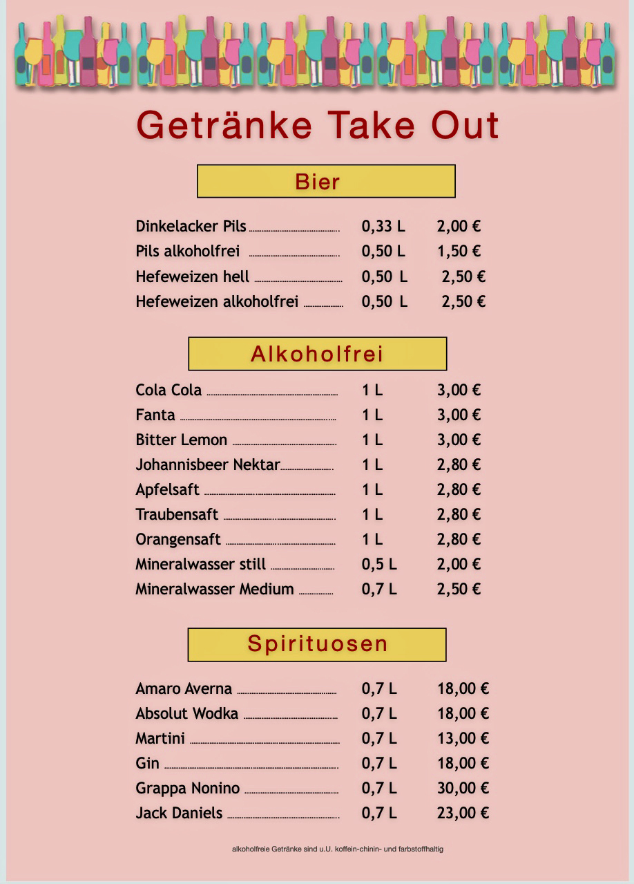 Getränke Take out